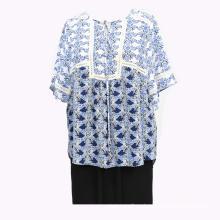 Женский пуловер с кружевной блузкой