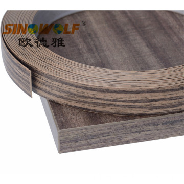 Wood Finish Woodgrain PVC Edge Banding Untuk Furniture