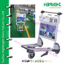 3 wheels hand brake airport baggage trolley