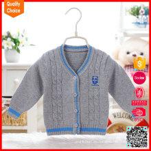 Puro algodón orgánico patrón de dibujos animados tejido a mano ropa de bebé
