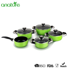 9Pcs Green Heat Resistant Aluminum Nonstick Cookware Set