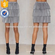 Grey Polyester Layer Metallic Mini Summer Skirt Manufacture Wholesale Fashion Women Apparel (TA0043S)