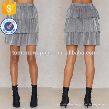 Grey Polyester Layer Metallic Mini Summer Skirt Manufacture Wholesale Fashion Women Apparel (TA0043S)