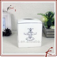 Caja de tejido de cerámica estilo francés
