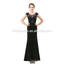 Vestido de fiesta elegante negro sin mangas ver a través del vestido de noche de encaje moda 2012