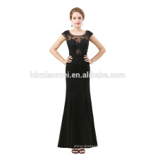 Vestido de baile elegante preto sem mangas ver através de renda vestido de noite de moda 2012