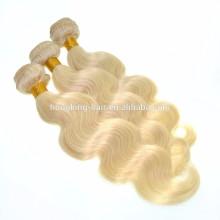 Cheveux humains brésiliens lumière cendre blonde cheveux extensions corps vague # 613 cheveux humains trame