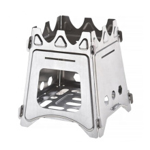Estufa cuadrada de leña de titanio portátil