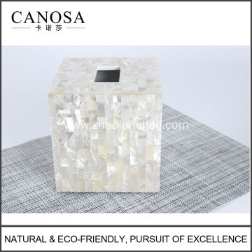 White Mother of Pearl Facial Tissue Box Design