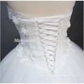 Princess Pure White A Line Floor Length Lace Beaded Strapless Backless Wedding Dress Bridal With Corset Back