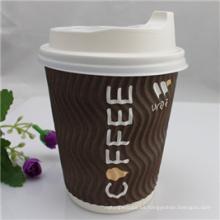 8 oz taza de papel de gran café popular con tapa