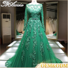 evening dress China Long Sleeve Islamic Green Wedding Dress 2017