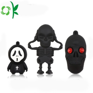 Cool Skeleton Knight Custodia morbida in silicone per chiavetta USB