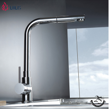 YLK0016 Single lever pull out kitchen tap nickel brass wash kitchen faucet
