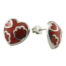 Women Steel Jewelry Enamel Heart Earring