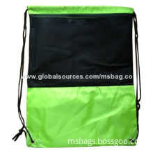Promotional polyester drawstring bags, mesh fabric on front panel for decoration