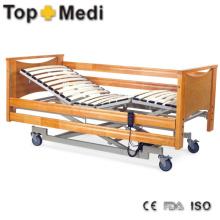 Больничная мебель Деревянная кровать панели Три функции стали больничной койке