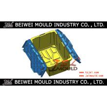 Recipiente de armazenamento de plástico com molde de tampa articulada