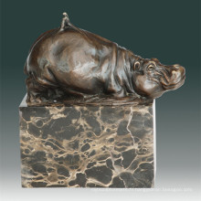 Animal Bronze Sculpture Hippopotamus / Hippo Decor Statue en laiton Tpal-270
