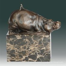 Животная бронзовая скульптура Бегемот / Дефект гиппопотама Статуя латуни Тпал-270