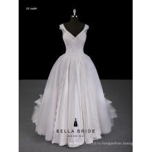 2017 новое Прибытие свадебное платье Cap рукавом кружева бальное платье свадебное платье с Портретным декольте