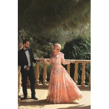NSM-23 Muslim Style Design Long Party Gown Peach Hand Appliqued Tulle A-Line Arabic Evening Dress Long Sleeve