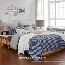Muji estilos-100% algodão tricô cama definido com listras