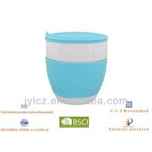 Taza con forma de vientre con banda de silicona, infusor y tapa, 4 colores de silicona surtidos