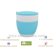 belly shape mug with silicone band,infuser and lid,4 silicone colors assorted