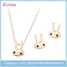 Cadeau de Noël pour enfants Ensemble de bijoux en forme de lapin plaqué or 18 carats