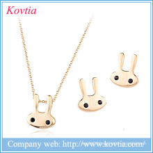 Christmas gift for kids 18k gold plated rabbit shaped jewelry set