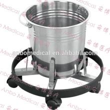 Cubo médico del retroceso del acero inoxidable de la alta calidad con el tope