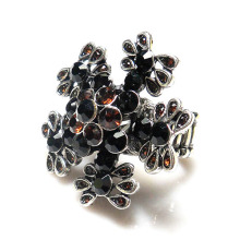 Popular Stretch Sweet Ladies rhinestone Rings flower shape metal alloy elastic rings Wholesale Price