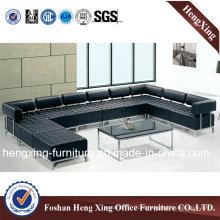 Black Classical Corner Leather Office Sofa