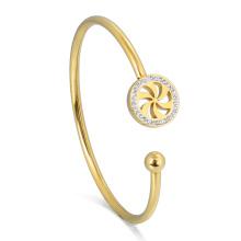 18K Gold Filled Crystal Windmill Bracelet Girls' New Designer Diamond Cuff Bangle
