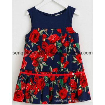 Vestido de menina moda vestido em crianças Vestuário com vestido de vestuário
