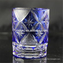 blue decorative cutting glass for drinking