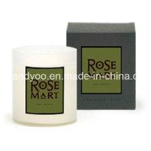 Vela perfumada de soja em frasco com caixa de presente para o casamento