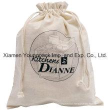 Promocionais Custom Algodão Natural Drawstring Bag para Sapatos