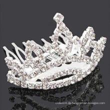 Mode Metall Silber überzogen Krone Form Kristall Stein Haarband