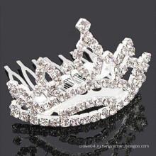 Мода металл посеребренная форма короны кристалл каменная лента для волос