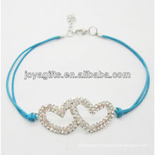Blue wire Diamante double heart alloy woven bracelet