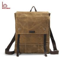 Mochila de couro de lona de viagem de mochila de couro genuíno de moda