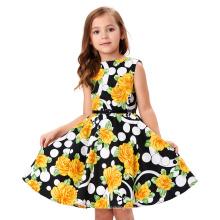 Kate Kasin Kids 'Audrey' Vintage Divinity 50's Dress Vintage Retro Cotton Floral Pattern Girls Vintage Dress KK000250-6