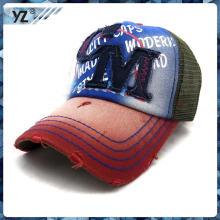 2015 nuevo producto sombrero tela appllique bordado cabrito mes camionero casquillo promocional personalizado