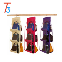 3 layer and 4 layer hanging handbag purse organizer with metal hook