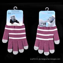 Lady Fashion Streifen gestrickte Winter warme Touch Screen Handschuhe (YKY5462)