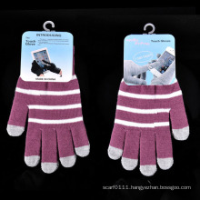 Lady Fashion Stripe Knitted Winter Warm Touch Screen Gloves (YKY5462)
