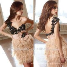 LL-0081 Nouveau style One Shoulder Applique Colonne perlée Mini Featehr Skirt Waistband Open Back Cocktail Dress Party Gown