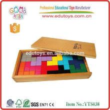 Tetris con la caja de la bandeja 12pcs para los juegos de cerebro de madera de los cabritos en rompecabezas